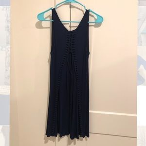 Francesca's Navy Dress with Lace Up Back